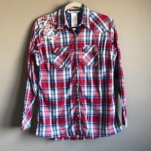 DISNEY Parks Plaid Western Long Sleeve Shirt